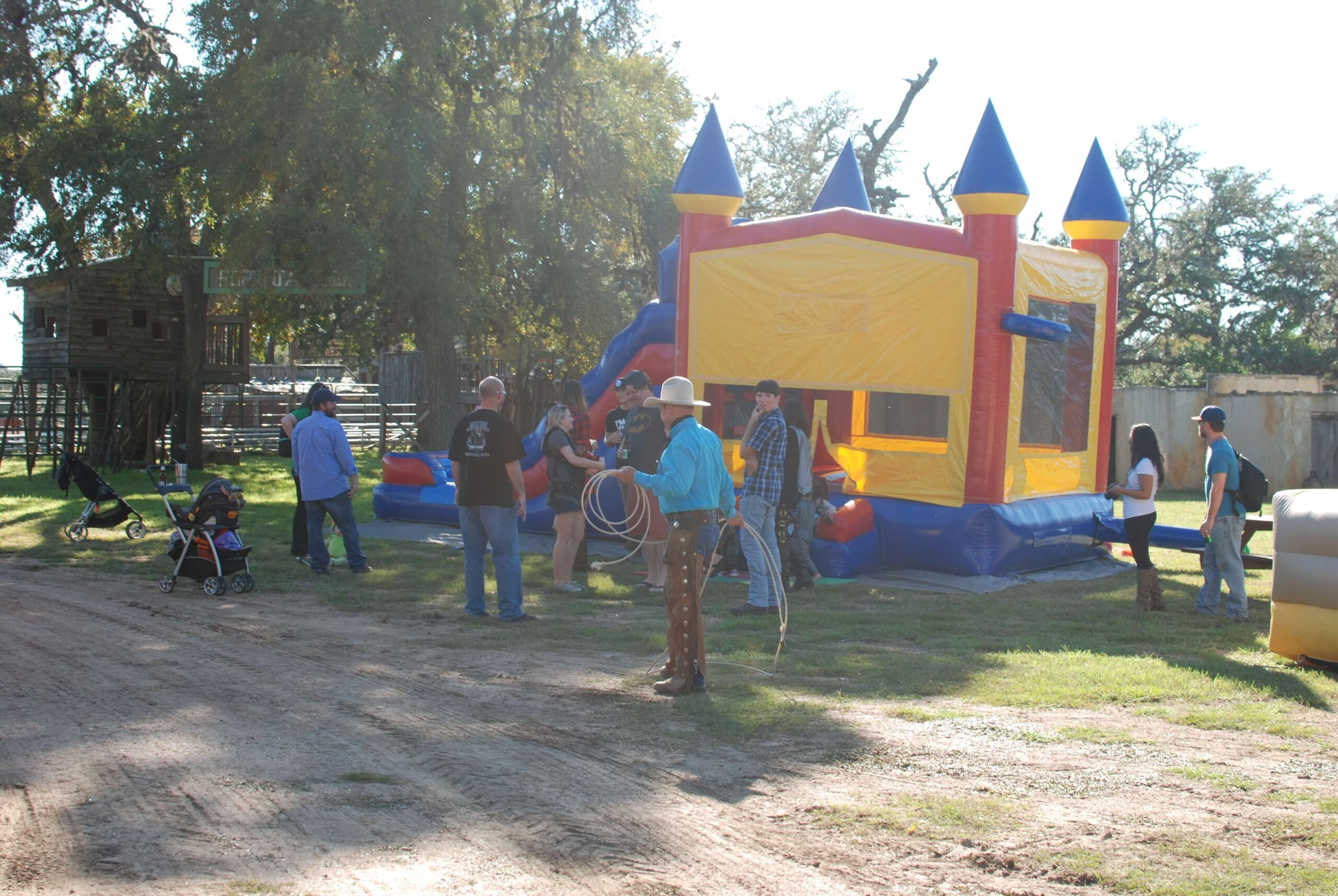Bounce houses and trick ropers at Enchanted Springs Ranch