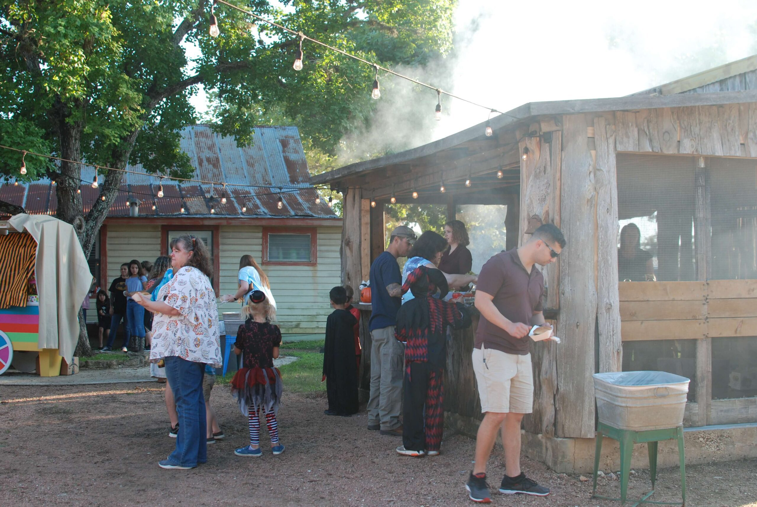 BBQ buffet line for a company picnic at Enchanted Springs Ranch