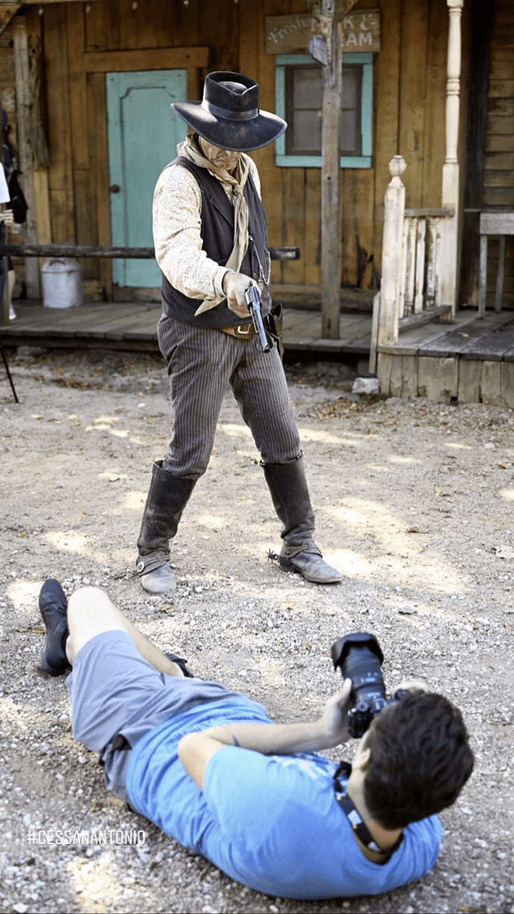 The Old West reenactors filming a production at Enchanted Springs Ranch